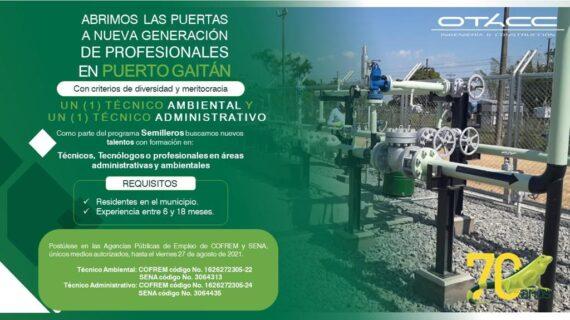 [Oferta Laboral]Vacantes Técnico ambiental y técnico administrativo