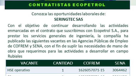 [Oferta Laboral]Vacantes HSE Corporativo y obrero