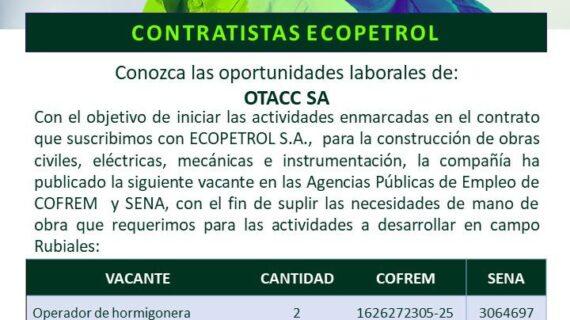 [Oferta Laboral]Vacantes Operador de hormigonera